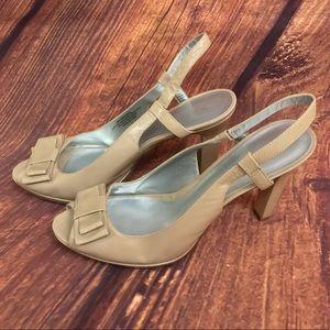 Taupe Slingback Peep Toe Heels